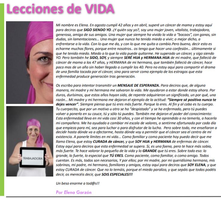 Testimonio de Elena Garzón tras superar un cáncer de mama