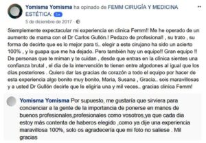Testimonio de Yomisma en página FEMM de facebook sobre su cirugía de aumento de pecho con el cirujano Carlos Gullón