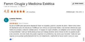 Reseña en Google Maps de una paciente sobre depilación láser en espalda y pecho
