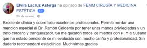 Reseña en facebook sobre operación de aumento de pecho